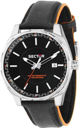 Sector Men's 44mm Leather Band Steel Case Quartz Analog Watch 3251503002