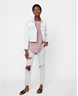 Express tie sleeve cropped denim boyfriend jacket