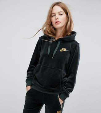 Nike Exclusive Velour Pullover Hoodie In Outdoor Green