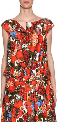 Marni Sleeveless Button-Front Floral-Print Blouse