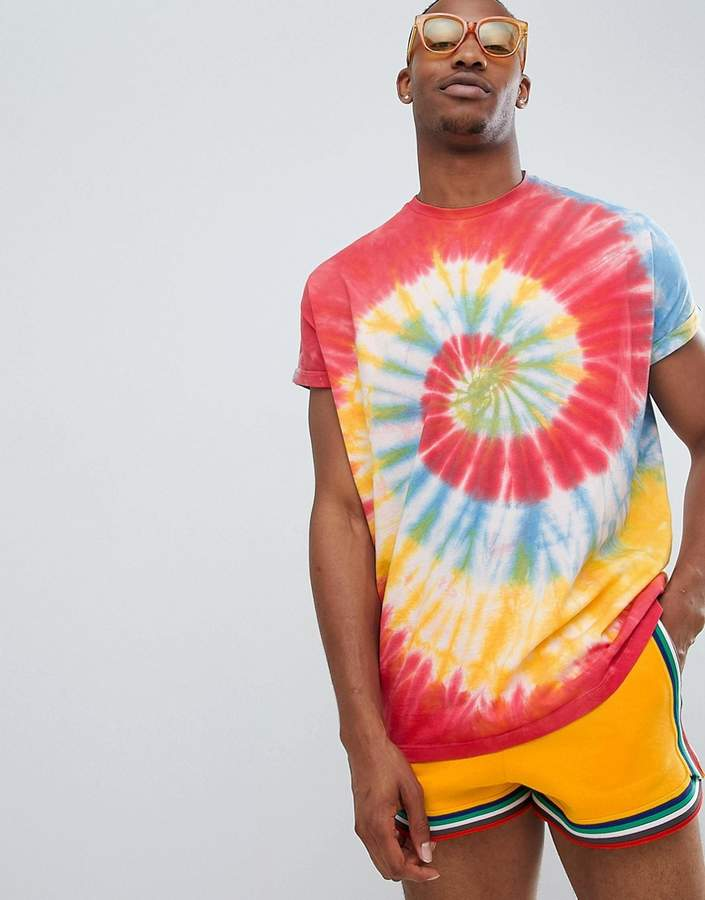 DESIGN – Langes Oversize-Festival-T-Shirt mit Rollärmeln und heller, spiralförmiger Batikwaschung