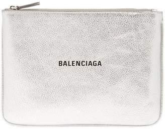 Balenciaga Metallic Leather Logo Pouch - Womens - Silver