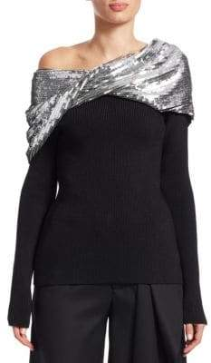 Monse Sequin Twist Shawl Sweater