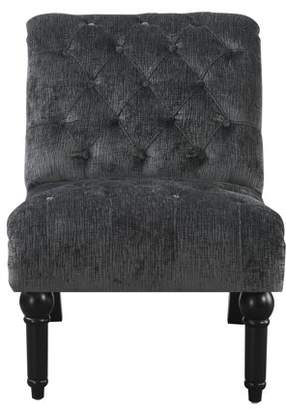 Emerald Home Hutton II Charcoal Gray Armless Accent Chair with Button Tufting, Nailhead Trim, And Turned Legs