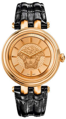 Versace Khai Analog Black Leather Strap Watch