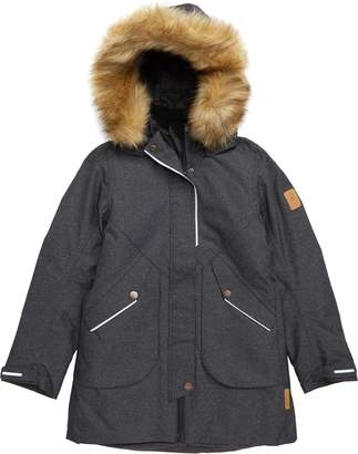 Reima Inari Reimatec(R) Waterproof Hooded A-Line Jacket with Faux Fur Trim