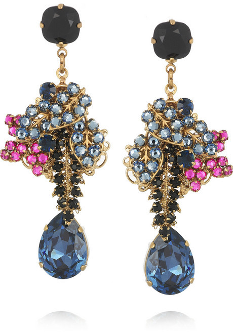 Swarovski Bijoux Heart Vreeland 24-karat gold-plated crystal earrings