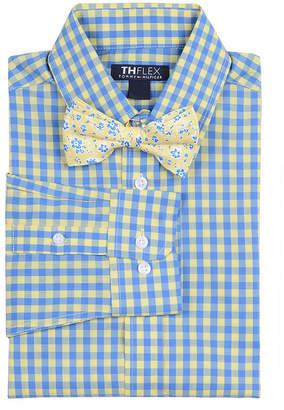 Tommy Hilfiger Big Boys Sailor Stretch Gingham Shirt & Floral Bow Tie