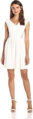 Minuet Women's Lace Dress with V-Neck Front and Flare Skirt