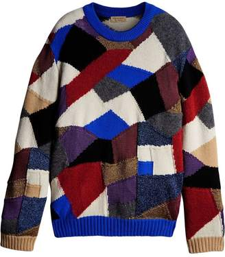 Burberry Patchwork Cashmere Wool Blend Sweater
