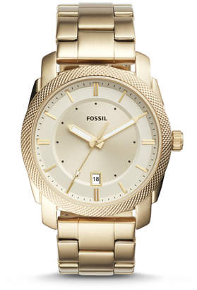 Fossil Machine Three-Hand Date Gold-Tone Stainless Steel Watch