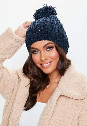Missguided Navy Pom Pom Knit Hat
