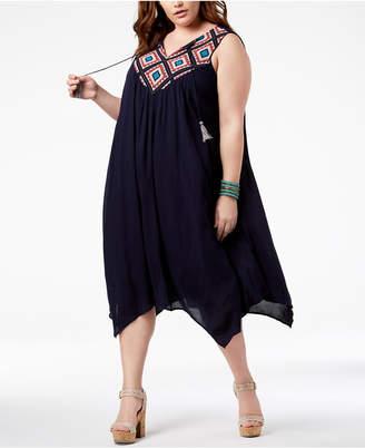 John Paul Richard Plus Size Embroidered-Yoke Dress
