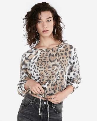 Express One Eleven Leopard Tie Hem Sweatshirt
