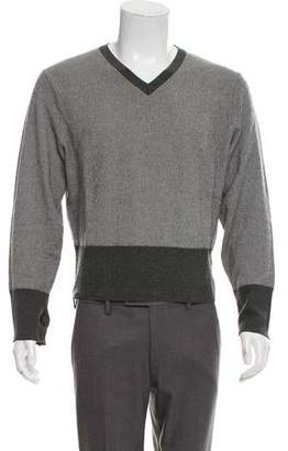 Brooks Brothers Black Fleece Striped Wool V-Neck Sweater