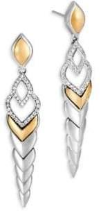 John Hardy Legends Naga Diamond Pave& 18K Gold Long Drop Earrings
