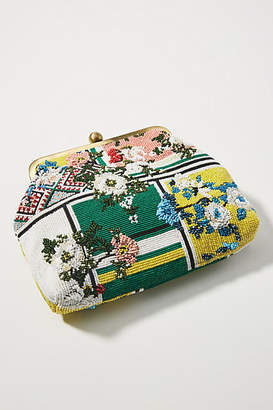 Anthropologie Floral Patchwork Beaded Clutch