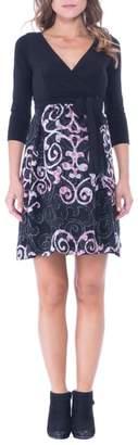 Olian Print Faux Wrap Maternity Dress