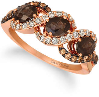 LeVian Le Vian Chocolate Quartz (1 ct.t.w.), Nude Diamonds (1/4 ct.t.w.), and Chocolate Diamonds (1/4 ct.t.w.) Three Stone Ring set in 14k rose gold