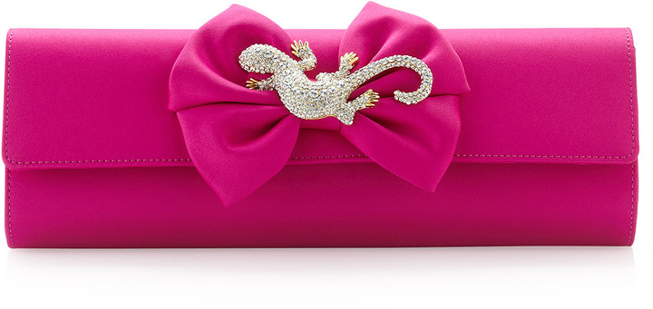 Moschino Rhinestone-Jewel Satin Clutch Bag, Pink