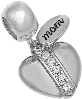 """Individuality Beads Sterling Silver Crystal """"Mom"""" Heart Charm"""