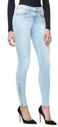 Ga Final Good Legs Chain Lace Up Jeans - Blue112