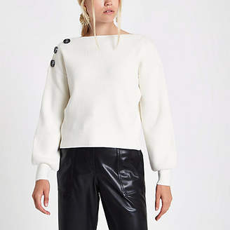 River Island Womens Cream rib knit button shoulder jumper