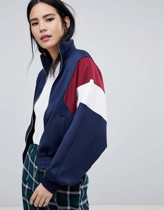 Bershka colour block bomber jacket