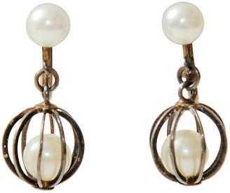 One Kings Lane Vintage Caged Pearl & Sterling Dangle Earrings - Maeven