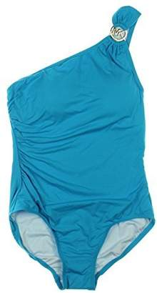 MICHAEL Michael Kors Womens One-Shoulder Signature One-Piece Swimsuit Blue