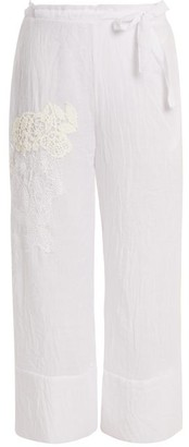 Lila Eugénie Lila Eugenie - 1834 Lace Panel Cropped Voile Trousers - Womens - White