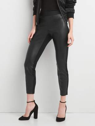 Gap Faux leather-front leggings