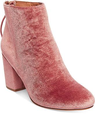 Steve Madden Women's Cynthia Velvet Block-Heel Booties $129 thestylecure.com