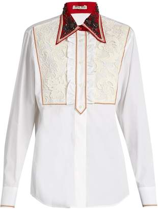 MIU MIU Guipure-lace bib cotton-poplin shirt