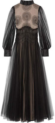 Valentino Appliquéd Tulle Gown - Black