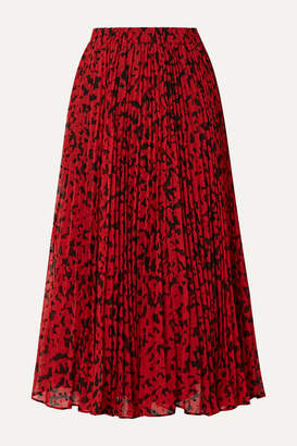 MICHAEL Michael Kors Pleated Printed Fil Coupé Georgette Midi Skirt - Red