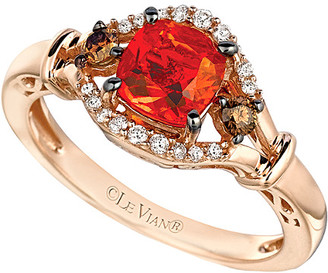 LeVian Le Vian 14K Rose Gold 0.71 Ct. Tw. White & Brown Diamond & Fire Opal Ring