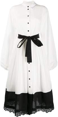 Milla belted lace hem shirt dress