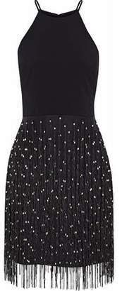 Badgley Mischka Bead-Embellished Fringed Organza And Cady Dress