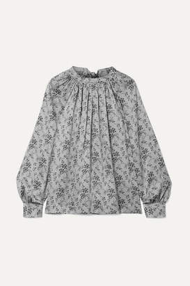 Co Gathered Floral-print Silk-charmeuse Blouse - Light gray