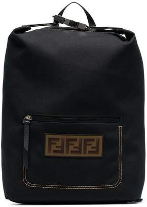 Fendi Black logo embroidered buckle backpack