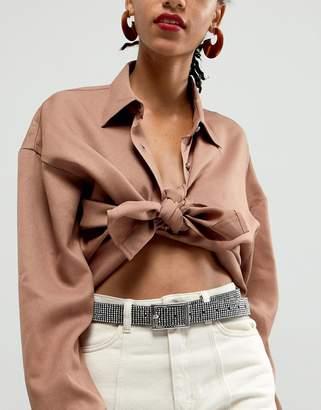 Asos Design DESIGN rhinestone waist and hip jeans belt