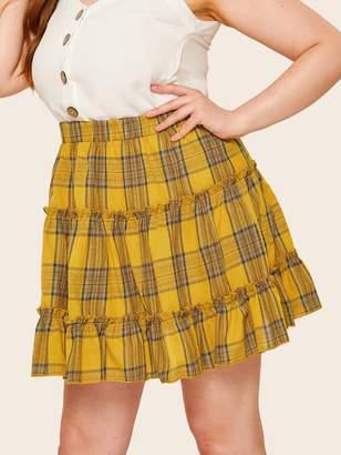 13f27b71b Shein Plus Tiered Layer Plaid Skirt