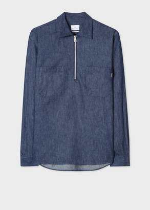 Paul Smith Men's Indigo-Rinse Denim Half-Zip Shirt