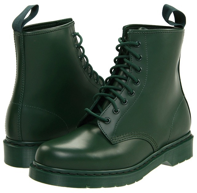 Dr. Martens 1460 8-Tie Boot (Green Smooth) - Footwear