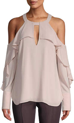 BCBGMAXAZRIA Cut-Out Ruffle Blouse