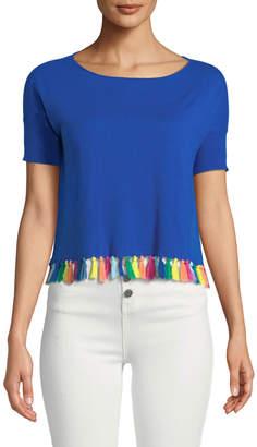 Minnie Rose Rainbow-Tassel Cropped Short-Sleeve Sweater