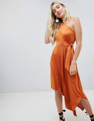 Warehouse one shoulder asymmetric hem dress