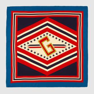 Gucci Silk scarf with varsity print