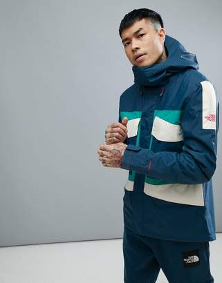 The North Face Fantasy Ridge Jacket Hooded In Blue/Green/White